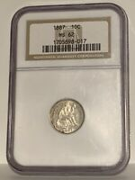 1887 NGC MINT STATE 62 10C SEATED LIBERTY DIME MINT STATE UNCIRCULATED CERTIFIED