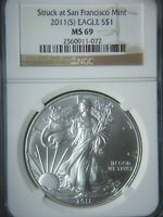 2011 S $1 AMERICAN SILVER EAGLE NGC MINT STATE 69 STRUCK AT SAN FRANCISCO MINT