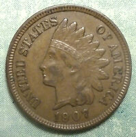 1907 INDIAN HEAD PENNY AU ABOUT UNCIRCULATED  BROWN 4 DIAMOND  STOCK UP-SIDE