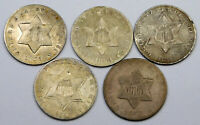 CULL CONDITION THREE CENT SILVER LOT   5 COINS