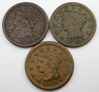 1845 1847 & 1854 BRAIDED HAIR LARGE CENT LOT