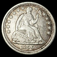 1856 US SEATED LIBERTY .05C SILVER HALF DIME 5C CENTS COLLEC