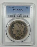 1892-CC MORGAN DOLLAR PCGS AG 03 CARSON CITY SILVER DOLLAR