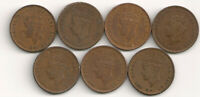 LOT OF 7 1940S KING GEORGE VI NEWFOUNDLAND ONE CENT COINS KM
