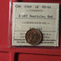 CANADIAN 1949 SM CENTS MS 64 OFF DENTICLE