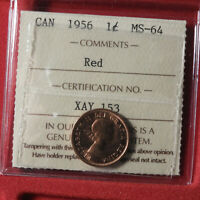 CANADIAN PENNY 1956 MS 64 ICCS GRADED