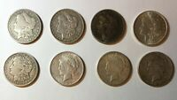 8 MORGAN AND PEACE SILVER DOLLARS 1881 1892 1901-O 1921 1921-S 1922 1922-S 1923