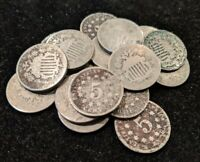 SHIELD NICKEL  1  COIN 1866 1883 MOST IN G GRADE OR LESS AND SOME DAMAGED