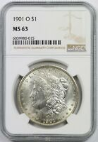 1901-O $1 NGC MINT STATE 63 MORGAN SILVER DOLLAR