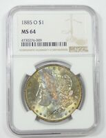 1885-O MORGAN DOLLAR NGC MINT STATE 64 SILVER DOLLAR  BEAUTIFULLY TONED SILVER DOLLAR