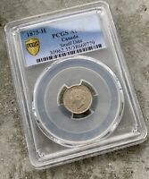 1875 H SM DATE CANADA 5 CENTS SILVER COIN   PCGS AU 55 KEY