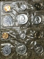1962 & 1963 P SILVER UNC US MINT SETS  2  P SETS 10 COINS TO
