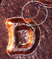 1961 D LINCOLN MEMORIAL CENT   BU   REPUNCHED MINT MARK   1MM 042 / RPM 042
