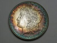 BU RAINBOW TONED 1901-O US SILVER MORGAN DOLLAR.  4