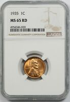 1935 1C NGC MINT STATE 65 RD RED LINCOLN WHEAT CENT