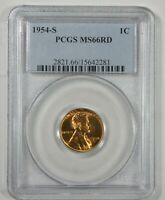 1954-S LINCOLN/WHEAT EARS REVERSE CENT CERTIFIED PCGS MINT STATE 66 RED 1C