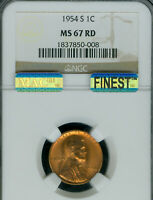 1954-S LINCOLN CENT NGC MINT STATE 67 RED PQ MAC FINEST GRADE MAC SPOTLESS .