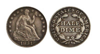 1837 1873 SEATED HALF DIME   THE COIN BEFORE THE NICKEL