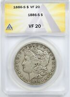 1886-S $1 ANACS VF 20 MORGAN SILVER DOLLAR