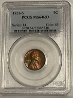 1931-S 1C MINT STATE 64RD LINCOLN CENT WHEAT REVERSE - PCGS CERTIFIED