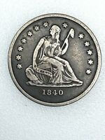 1840 O SEATED LIBERTY SILVER QUARTER 25C   NO DRAPERY