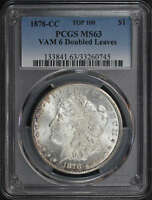 1878-CC TOP-100 VAM-6 DOUBLED LEAVES MORGAN SILVER DOLLAR PCGS MINT STATE 63