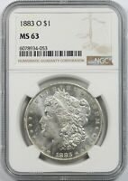 1883-O $1 NGC MINT STATE 63 MORGAN SILVER DOLLAR