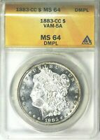 1883-CC  MORGAN SILVER DOLLAR - ANACS MINT STATE 64 DMPL & VAM-5A  - TOP OF THE LINE