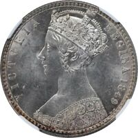 GREAT BRITAIN SILVER QUEEN VICTORIA GODLESS FLORIN 1849 NGC MINT STATE 64