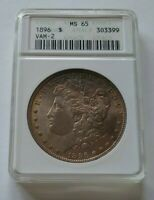 1896 P ANACS MINT STATE 65 VAM 2 MORGAN SILVER DOLLAR - OLD ANACS SLAB -