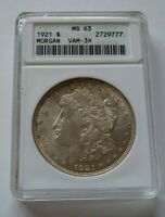 1921 P ANACS MINT STATE 63 VAM 3H MORGAN SILVER DOLLAR - OLD ANACS SLAB -