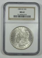 1883-CC MORGAN DOLLAR CERTIFIED NGC MINT STATE 62 CARSON CITY SILVER DOLLAR