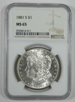 1881-S MORGAN SILVER DOLLAR CERTIFIED NGC MINT STATE 65