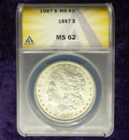 1887 ANACS MINT STATE 62 SILVER MORGAN DOLLAR, ANACS CERTIFIED MINT STATE 62 SILVER $1 COIN
