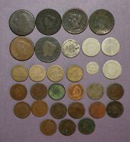 US COIN LOT   NO DATE LARGE CENTS FLYING EAGLES SHIELD NICKELS ETC.