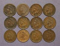 12 INDIAN HEAD CENTS   MIXED DATES 1862 1908