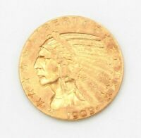 1909 D UNITED STATES FIVE DOLLLAR INDIAN HEAD GOLD COIN 10031 5