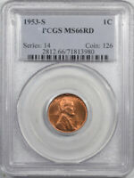 1953-S LINCOLN CENT - PCGS MINT STATE 66 RD