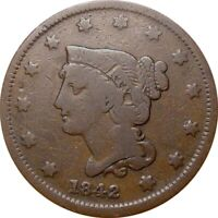 1842 BRAIDED CENT  VERY GOOD  SMALL DATE