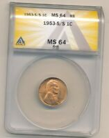 1953-S/S RPM LINCOLN WHEAT CENT - ANACS MINT STATE 64 RB  - VAREITY -C134UDXX