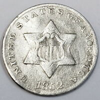 1852 UNITED STATES III 3 CENT SILVER PIECE TYPE 1 RARE COLLE