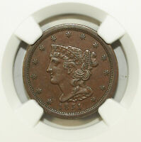 1851 NGC AU 55 BN BRAIDED HAIR HALF CENT  C-1  GREAT FOR SETS 088