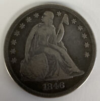 1846 SEATED LIBERTY SILVER DOLLAR HERALDIC EAGLE UNITED STAT