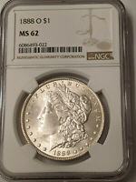 1888-O MORGAN SILVER DOLLAR NGC MINT STATE 62   - EXTRA  CLEAN UNDERGRADED