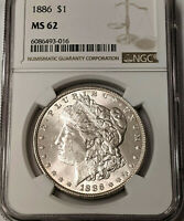 1886 MORGAN SILVER DOLLAR NGC MINT STATE 62   - SUPER  COIN - UNDERGRADED