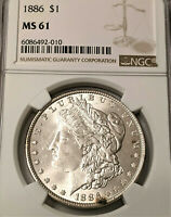 1886 MORGAN SILVER DOLLAR NGC MINT STATE 61   - BRIGHT COIN