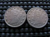 2 1883 NC LIBERTY NICKELS EXTRA FINE -AU