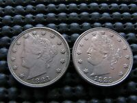 2 1883 NC LIBERTY NICKELS EXTRA FINE -AU CONDITION