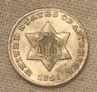 1851-O THREE CENT  SILVER ,  DATE , LUSTEROUS  AU