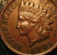 OLD US COINS 1901 INDIAN HEAD CENT PENNY FULL LIBERTY BEAUTY